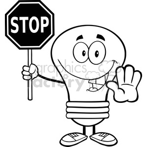 6063 Royalty Free Clip Art Light Bulb Cartoon Character Holding A Stop Sign clipart. Commercial use image # 389117