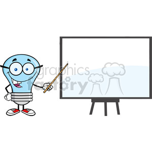 6097 Royalty Free Clip Art Blue Ligt Bulb Presenting On A Board clipart. Commercial use image # 389137