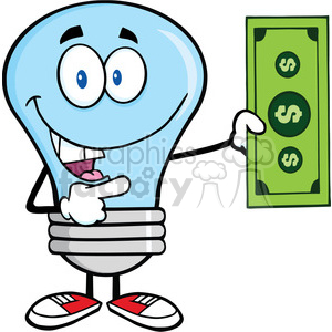 6074 Royalty Free Clip Art Blue Light Bulb Character Showing A Dollar Bill clipart. Royalty-free image # 389147