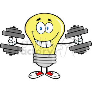 6019 Royalty Free Clip Art Smiling Light Bulb Cartoon Character Training With Dumbbells clipart. Commercial use image # 389157