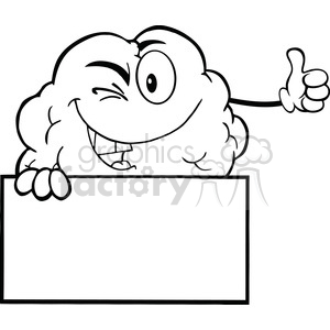 5979 Royalty Free Clip Art Winking Brain Character Holding A Thumb Up Over Sign