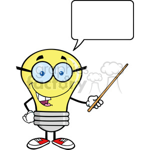 cartoon funny lightbulb idea character happy nerd teacher
