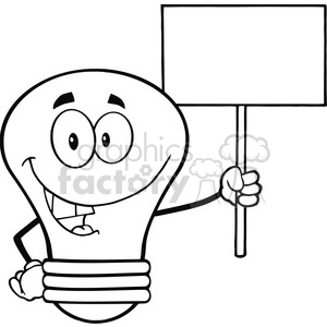 6138 Royalty Free Clip Art Light Bulb Cartoon Character Holding Up A Blank Sign clipart. Commercial use image # 389187