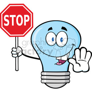 6143 Royalty Free Clip Art Blue Light Bulb Cartoon Character Holding A Stop Sign