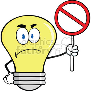 cartoon funny lightbulb idea character nope no