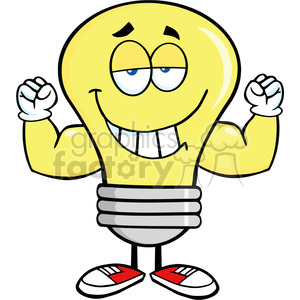 6036 Royalty Free Clip Art Smiling Light Bulb Cartoon Mascot Character With Muscle Arms clipart. Royalty-free image # 389237