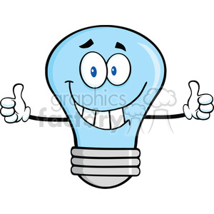 6146 Royalty Free Clip Art Smiling Blue Light Bulb Cartoon Character Giving A Double Thumbs Up clipart. Royalty-free image # 389247