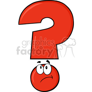 6263 Royalty Free Clip Art Red Question Mark Cartoon Character Thinking clipart. Royalty-free image # 389267