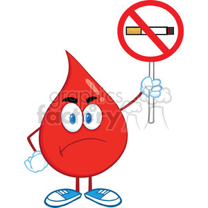6172 Royalty Free Clip Art Angry Red Blood Drop Cartoon Character Holding up A No Smoking Sign clipart. Royalty-free image # 389277