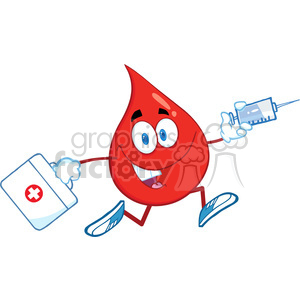 6182 Royalty Free Clip Art Red Blood Drop Character Running With A Syringe And Medicine Bag clipart. Royalty-free image # 389287
