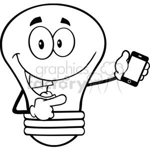 6162 Royalty Free Clip Art Light Bulb Character Holding A Mobile Phone clipart. Commercial use image # 389327