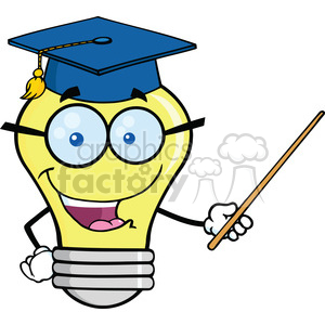6157 Royalty Free Clip Art Smiling Light Bulb Teacher Character With A Pointer clipart. Commercial use image # 389357