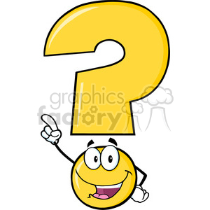 6258 royalty free clip art happy yellow question mark cartoon character pointing with finger