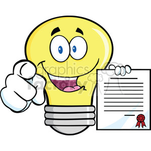6154 Royalty Free Clip Art Light Bulb Pointing With Finger And Holding A Contract clipart. Royalty-free image # 389397