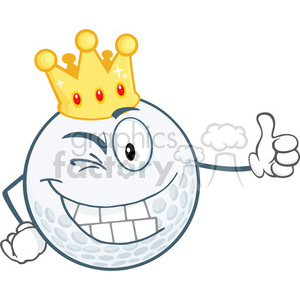 6487 Royalty Free Clip Art Winking Golf Ball Cartoon Character With Gold Crown Holding A Thumb Up clipart. Commercial use image # 389407