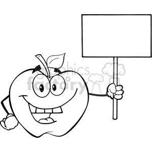 6517 Royalty Free Clip Art Black and White Apple Cartoon Character Holding Up A Blank Sign clipart. Commercial use image # 389450
