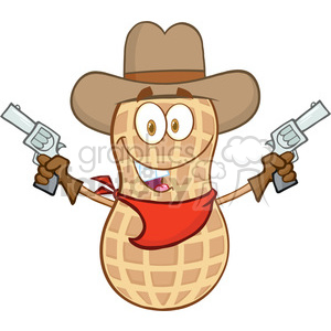 6802 Royalty Free Clip Art Smiling Peanut Cowboy Cartoon Mascot Character With Guns clipart. Royalty-free image # 389462