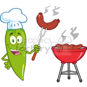 6793 Royalty Free Clip Art Cute Green Chili Pepper Chef With Sausage On Fork Cook At Barbecue clipart. Royalty-free image # 389472