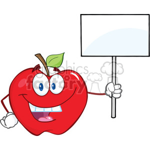 6518 Royalty Free Clip Art Happy Apple Cartoon Character Holding Up A Blank Sign clipart. Commercial use image # 389482