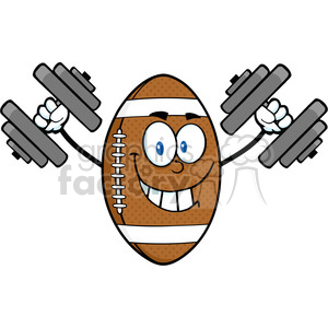 6575 Royalty Free Clip Art Smiling American Football Ball Cartoon Mascot Character Training With Dumbbells clipart. Royalty-free image # 389502