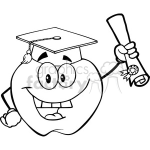 6504 Royalty Free Clip Art Black and White Apple Character Graduate Holding A Diploma
