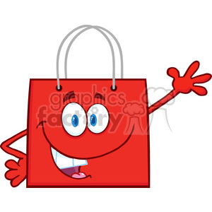 6723 Royalty Free Clip Art Smiling Red Shopping Bag Cartoon Mascot Character Waving For Greeting