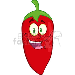 6769 Royalty Free Clip Art Smiling Red Chili Pepper Cartoon Mascot Character clipart. Commercial use image # 389602