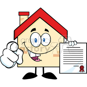 6462 Royalty Free Clip Art Happy House Cartoon Mascot Character Pointing With Finger And Holding A Contract clipart. Commercial use image # 389612