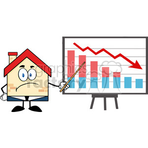 6446 Royalty Free Clip Art Grumpy Business House Cartoon Character With Pointer Presenting A Falling Chart clipart. Royalty-free image # 389622
