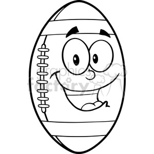 6559 Royalty Free Clip Art Black and White American Football Ball Cartoon Mascot Character clipart. Royalty-free image # 389654