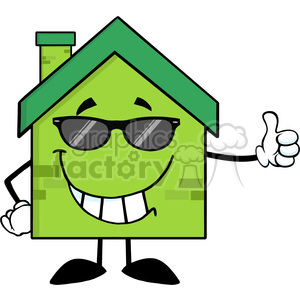6478 Royalty Free Clip Art Green Eco House Cartoon Character With Sunglasses Giving A Thumb Up clipart. Commercial use image # 389664