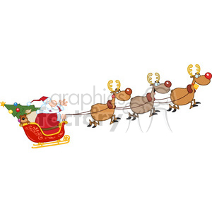 6686 Royalty Free Clip Art Santa Claus In Flight With His Reindeer And Sleigh
