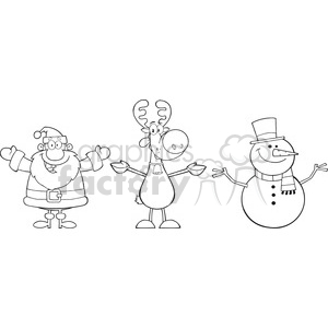 6679 Royalty Free Clip Art Black And White Santa Claus,Rudolph Reindeer And Snowman clipart. Commercial use image # 389684