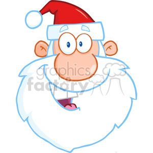 6654 Royalty Free Clip Art Happy Santa Claus Head Cartoon Character clipart. Royalty-free image # 389704