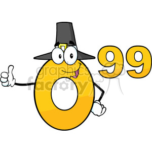 6689 Royalty Free Clip Art Price Tag Number 0-99 With Pilgrim Hat Cartoon Mascot Character Giving A Thumb Up clipart. Commercial use image # 389714