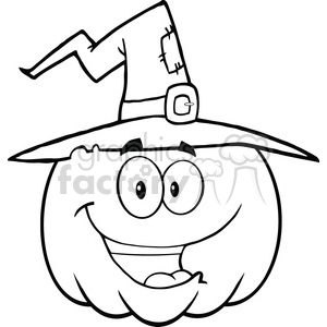 6643 royalty free clip art back and white happy halloween pumpkin with a witch hat cartoon mascot illustration