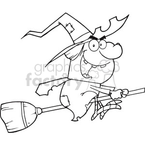 6625 Royalty Free Clip Art Back And White Witch Ride A Broomstick clipart. Commercial use image # 389754