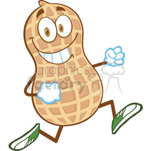 6600 Royalty Free Clip Art Smiling Peanut Cartoon Mascot Character Running clipart. Commercial use image # 389774