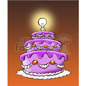 black and white cake with light bulb as candle clipart. Royalty-free image # 389782