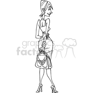 cartoon female in black and white clipart. Commercial use image # 389812