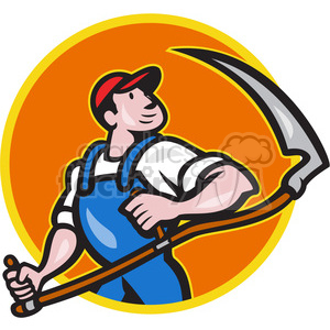 farmer scythe looking side CIRC clipart. Royalty-free image # 389882