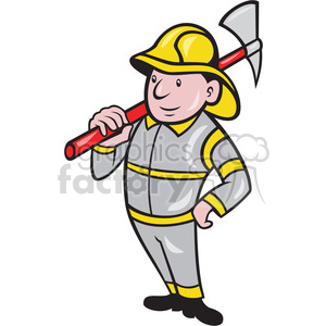 cartoon retro fireman fire+fighter axe rescue