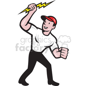 cartoon retro man guy lightning mascot character logo