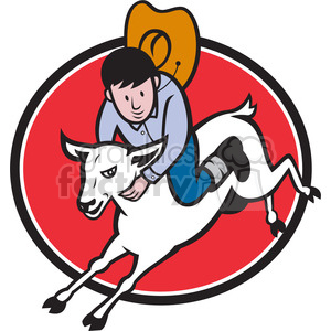rodeo junior cowboy riding sheep clipart. Royalty-free image # 389997