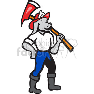 fireman dog carry fireaxe clipart. Royalty-free image # 390013