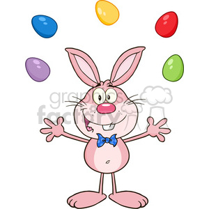 Royalty Free RF Clipart Illustration Cute pink Rabbit Cartoon Character Juggling With Easter Eggs
