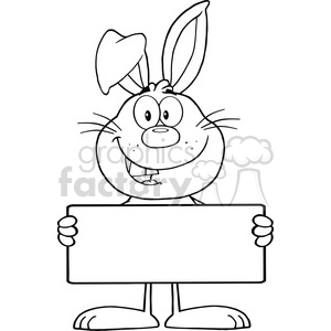 Royalty Free RF Clipart Illustration Black And White Funny Rabbit Cartoon Character Holding A Banner clipart. Commercial use image # 390103
