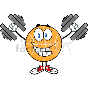 Royalty Free RF Clipart Illustration Smiling Basketball Cartoon Character Training With Dumbbells clipart. Royalty-free image # 390123