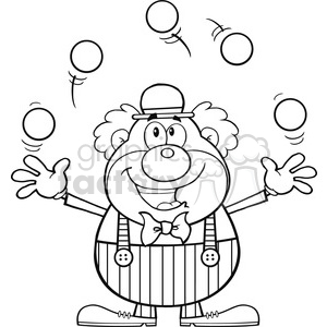 Royalty Free RF Clipart Illustration Black and White Funny Clown Cartoon Character Juggling With Balls clipart. Commercial use image # 390153