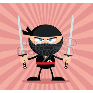 Angry Cartoon Ninja Warrior With Two Katana Flat Design